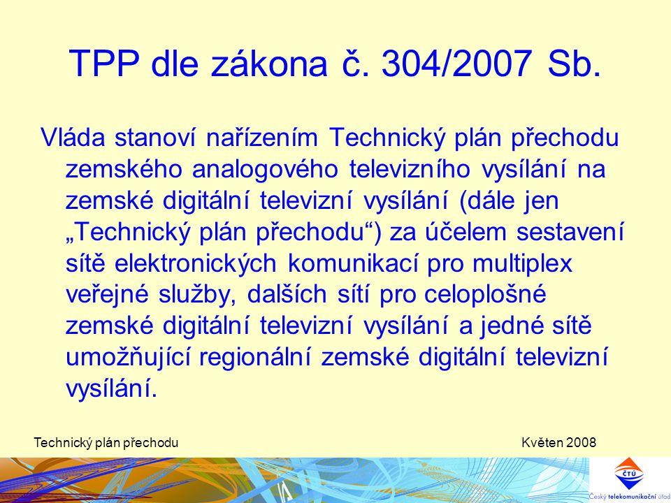Květen 2008Technický plán přechodu Vláda stanoví nařízením Technický plán přechodu zemského analogového televizního vysílání na zemské digitální telev