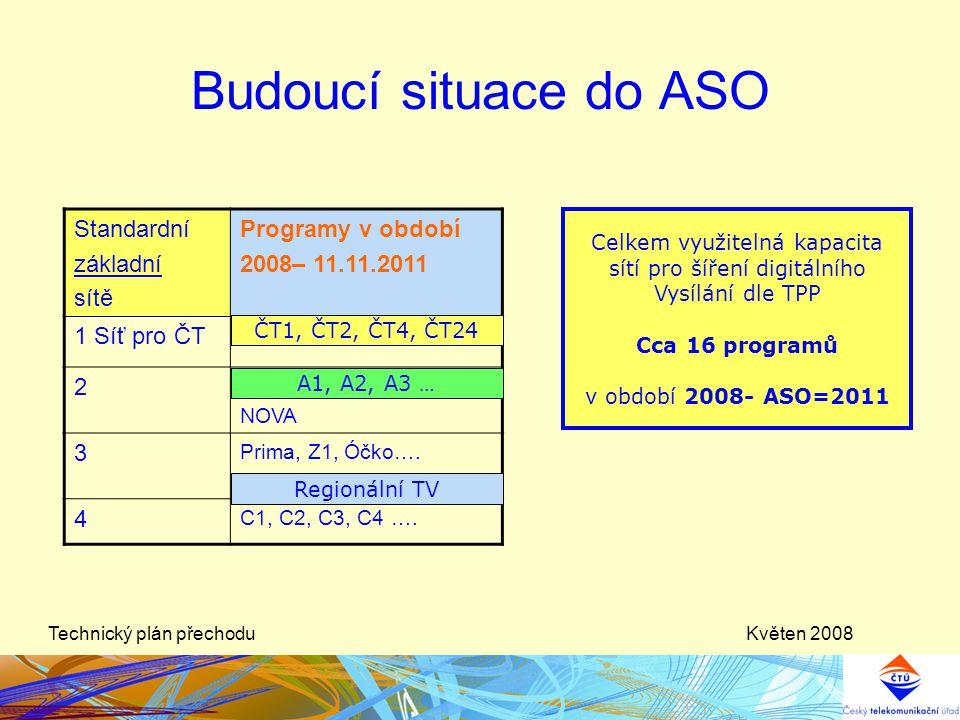 Květen 2008Technický plán přechodu Budoucí situace do ASO Standardní základní sítě Programy v období 2008– 11.11.2011 1 Síť pro ČT 2 NOVA 3 Prima, Z1,