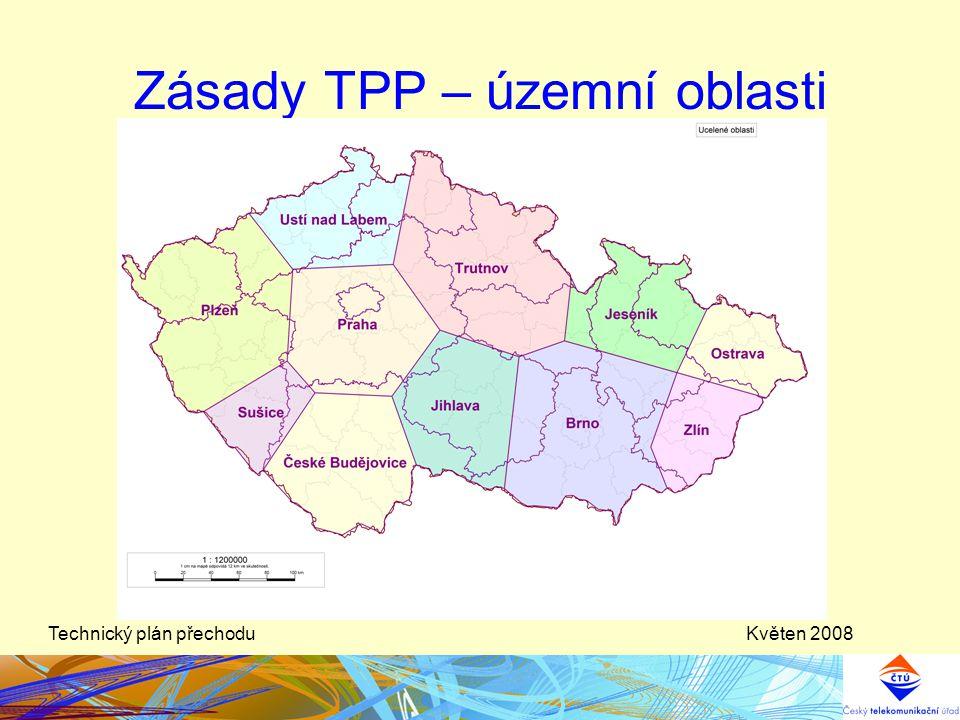 Květen 2008Technický plán přechodu Očekávané možnosti použití kmitočtů přidělených ČR novým plánem a)předpoklad pro pásmo VHF (kanály 5 — 12) –nejvýše lze očekávat možnost sestavení: •1 celoplošné sítě DVB-T •1 celoplošné sítě T-DAB •2 celoplošných sítí T-DAB s možností nezávislého programového vysílání až do úrovně VÚSC (po změně současného rastru na rastr 7 MHz) b)předpoklad pro pásmo UHF (kanály 21 — 69) –2-3 celoplošné sítě DVB-T s možností nezávislého programového vysílání až do úrovně VÚSC –další sítě rozsahem blízkým celoplošnému pokrytí území (max.