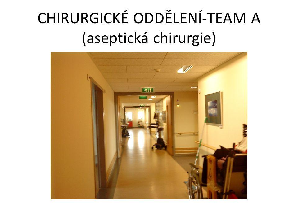 • Chirurgické oddělení se skládá ze dvou částí (team A-aseptická chirurgie, team B-septická chirurgie) • Na ranní službu se zde schází přibližně 6 sester se všeobecným zaměřením • Obvyklá pracovní doba je 8 hodin