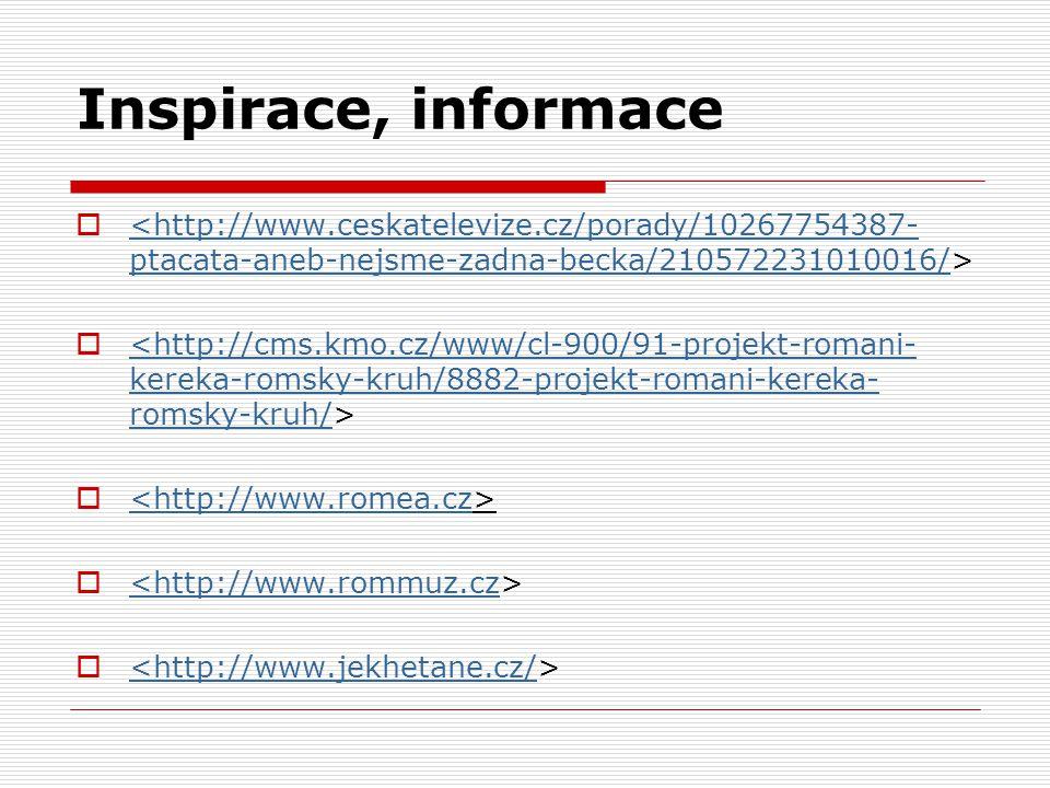 Inspirace, informace  <http://www.ceskatelevize.cz/porady/10267754387- ptacata-aneb-nejsme-zadna-becka/210572231010016/  <http://cms.kmo.cz/www/cl-9