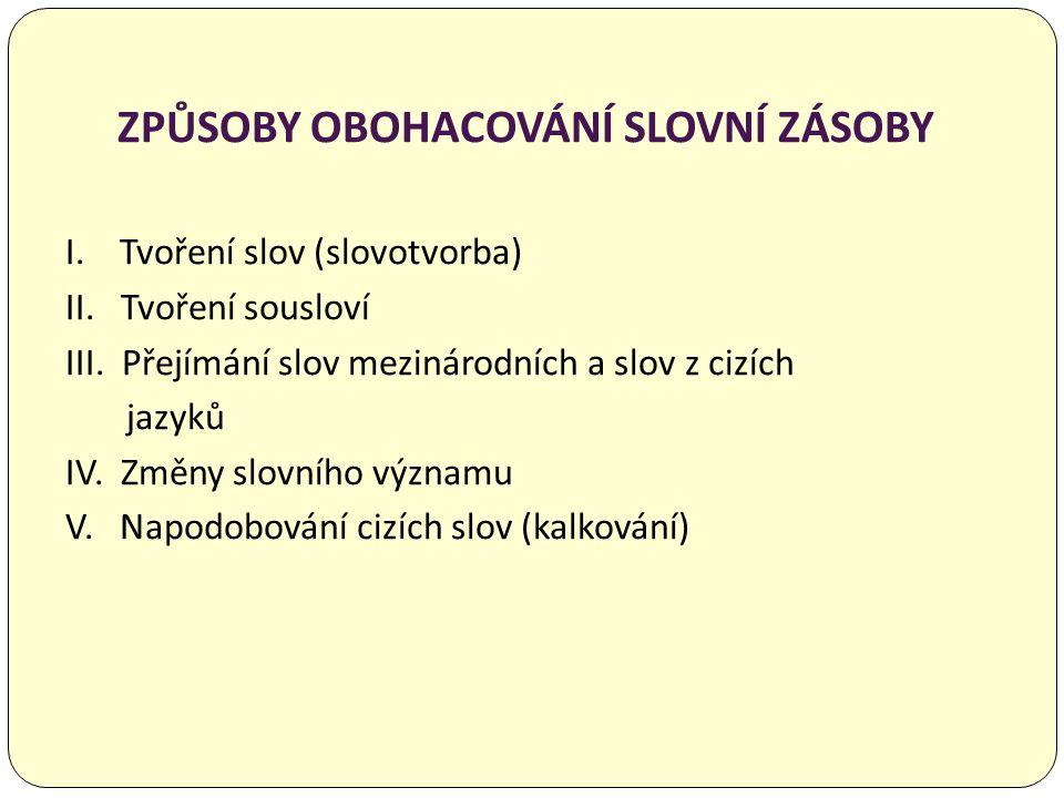 TVOŘENÍ SLOV (SLOVOTVORBA) a) odvozování příponami, předponami, popř.