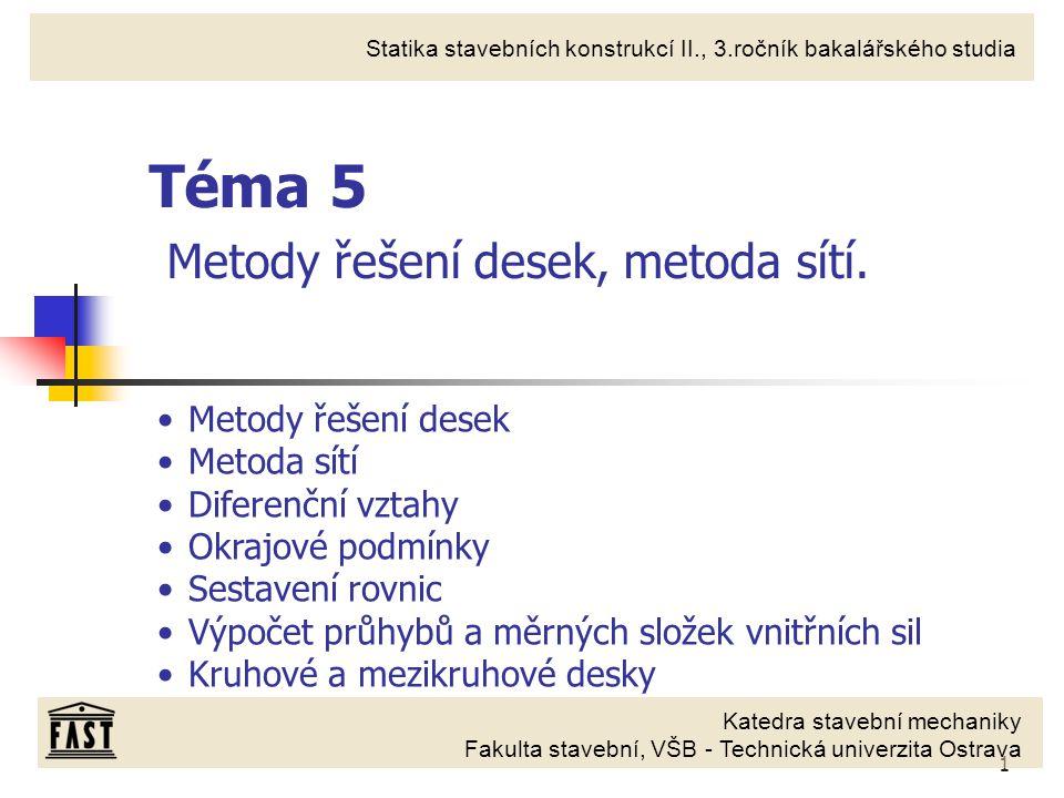 1 Katedra stavební mechaniky Fakulta stavební, VŠB - Technická univerzita Ostrava Statika stavebních konstrukcí II., 3.ročník bakalářského studia Téma 5 Metody řešení desek, metoda sítí.