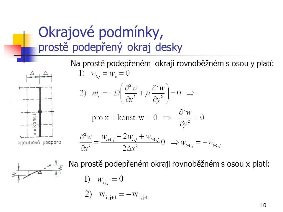 10 Okrajové podmínky, prostě podepřený okraj desky Na prostě podepřeném okraji rovnoběžném s osou y platí: Na prostě podepřeném okraji rovnoběžném s osou x platí: