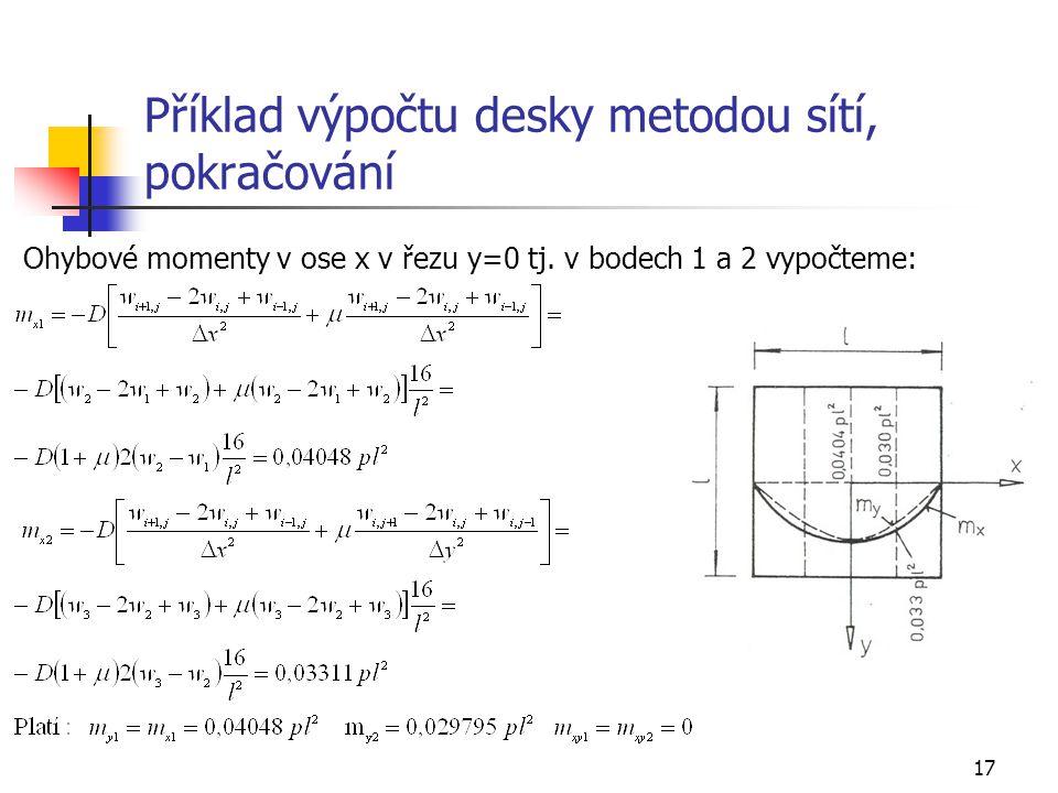 17 Příklad výpočtu desky metodou sítí, pokračování Ohybové momenty v ose x v řezu y=0 tj. v bodech 1 a 2 vypočteme:
