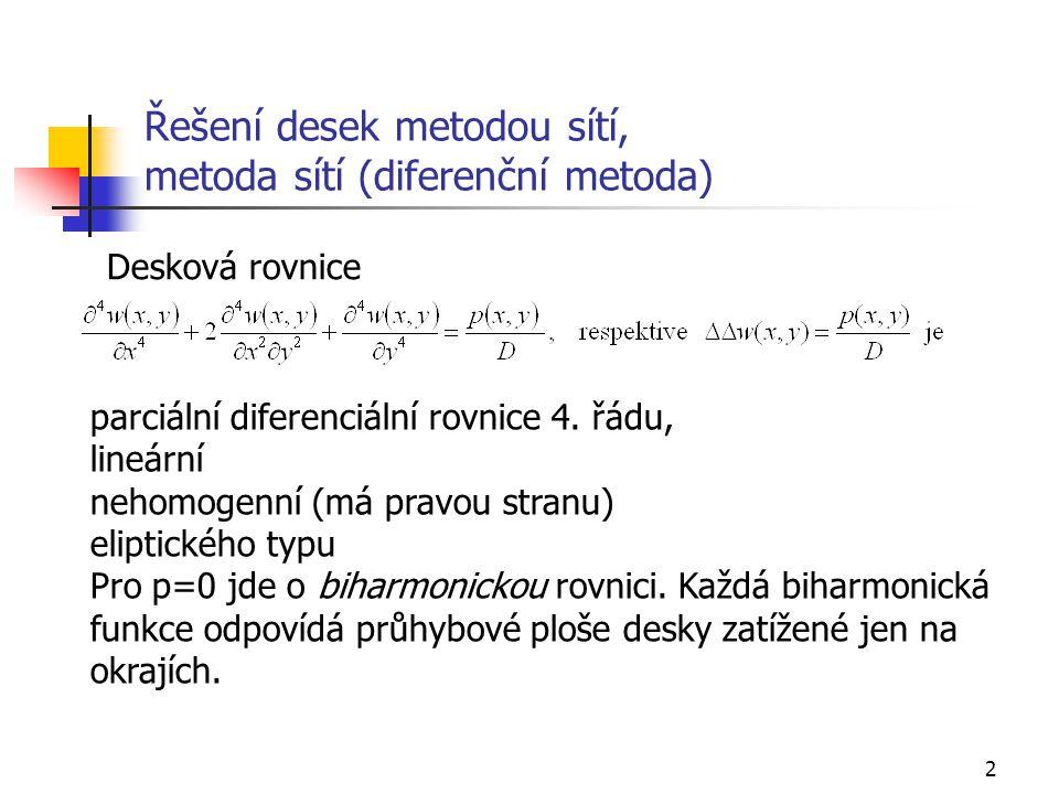 2 Řešení desek metodou sítí, metoda sítí (diferenční metoda) Desková rovnice parciální diferenciální rovnice 4. řádu, lineární nehomogenní (má pravou