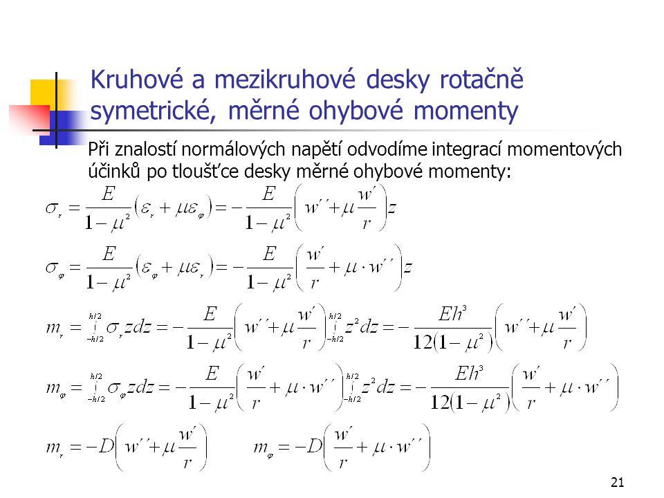 21 Kruhové a mezikruhové desky rotačně symetrické, měrné ohybové momenty Při znalostí normálových napětí odvodíme integrací momentových účinků po tloušťce desky měrné ohybové momenty: