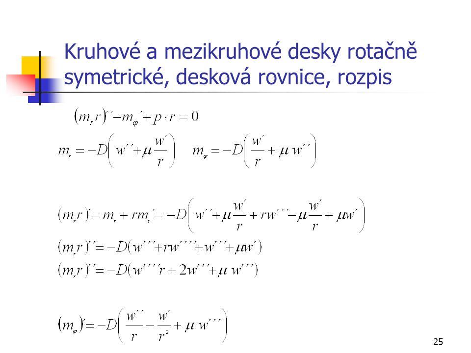 25 Kruhové a mezikruhové desky rotačně symetrické, desková rovnice, rozpis