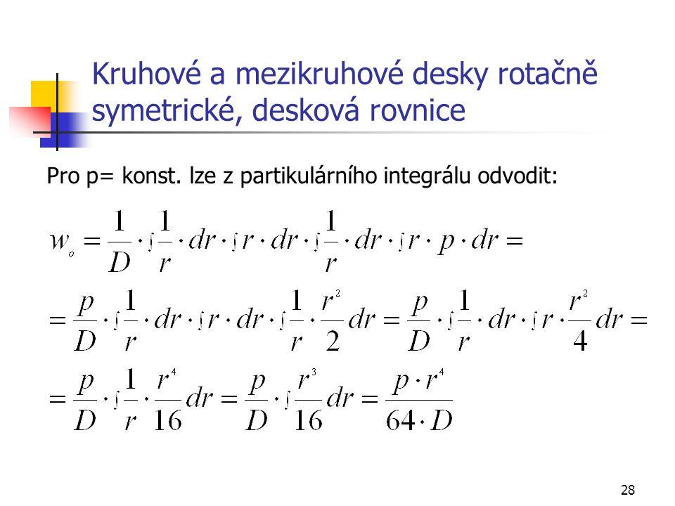 28 Kruhové a mezikruhové desky rotačně symetrické, desková rovnice Pro p= konst. lze z partikulárního integrálu odvodit: