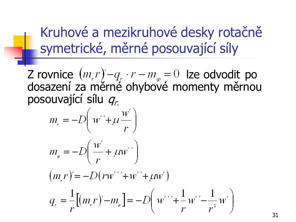 31 Kruhové a mezikruhové desky rotačně symetrické, měrné posouvající síly Z rovnice lze odvodit po dosazení za měrné ohybové momenty měrnou posouvajíc