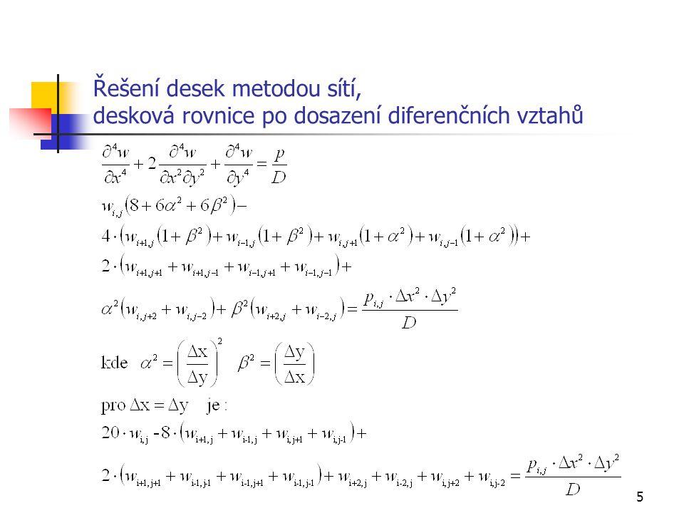 5 Řešení desek metodou sítí, desková rovnice po dosazení diferenčních vztahů