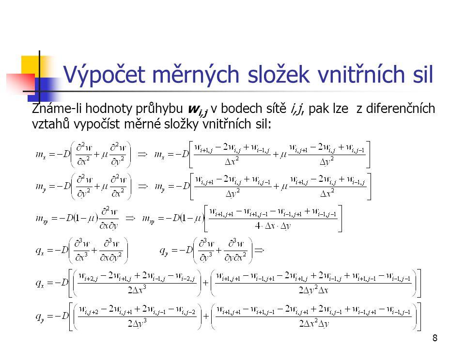 8 Výpočet měrných složek vnitřních sil Známe-li hodnoty průhybu w i,j v bodech sítě i,j, pak lze z diferenčních vztahů vypočíst měrné složky vnitřních