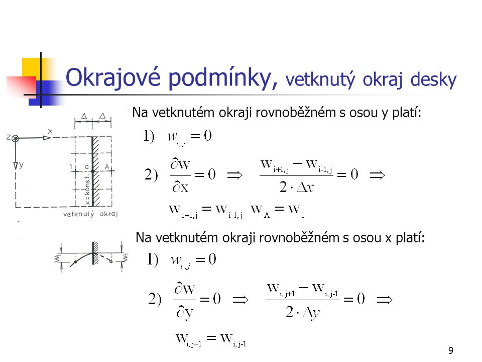 9 Okrajové podmínky, vetknutý okraj desky Na vetknutém okraji rovnoběžném s osou y platí: Na vetknutém okraji rovnoběžném s osou x platí: