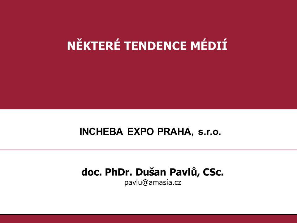 1.1. NĚKTERÉ TENDENCE MÉDIÍ doc. PhDr. Dušan Pavlů, CSc. pavlu@amasia.cz INCHEBA EXPO PRAHA, s.r.o.