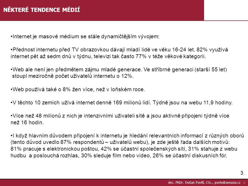 3.3. doc. PhDr. Dušan Pavlů, CSc., pavlu@amasia.cz :: NĚKTERÉ TENDENCE MÉDIÍ •Internet je masové médium se stále dynamičtějším vývojem: •Přednost inte