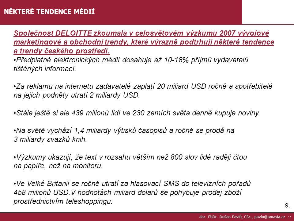 9.9. doc. PhDr. Dušan Pavlů, CSc., pavlu@amasia.cz :: NĚKTERÉ TENDENCE MÉDIÍ Společnost DELOITTE zkoumala v celosvětovém výzkumu 2007 vývojové marketi