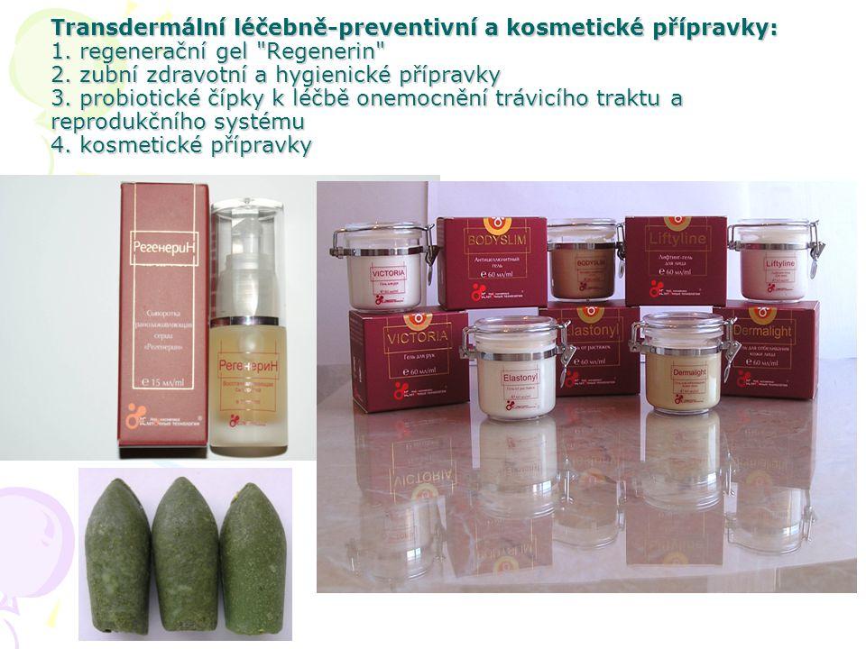 Transdermální léčebně-preventivní a kosmetické přípravky: 1. regenerační gel