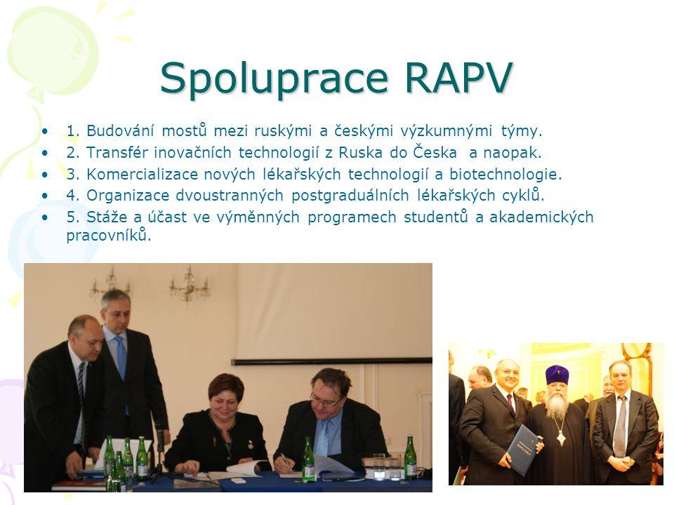 •1. Budování mostů mezi ruskými a českými výzkumnými týmy. •2. Transfér inovačních technologií z Ruska do Česka a naopak. •3. Komercializace nových lé