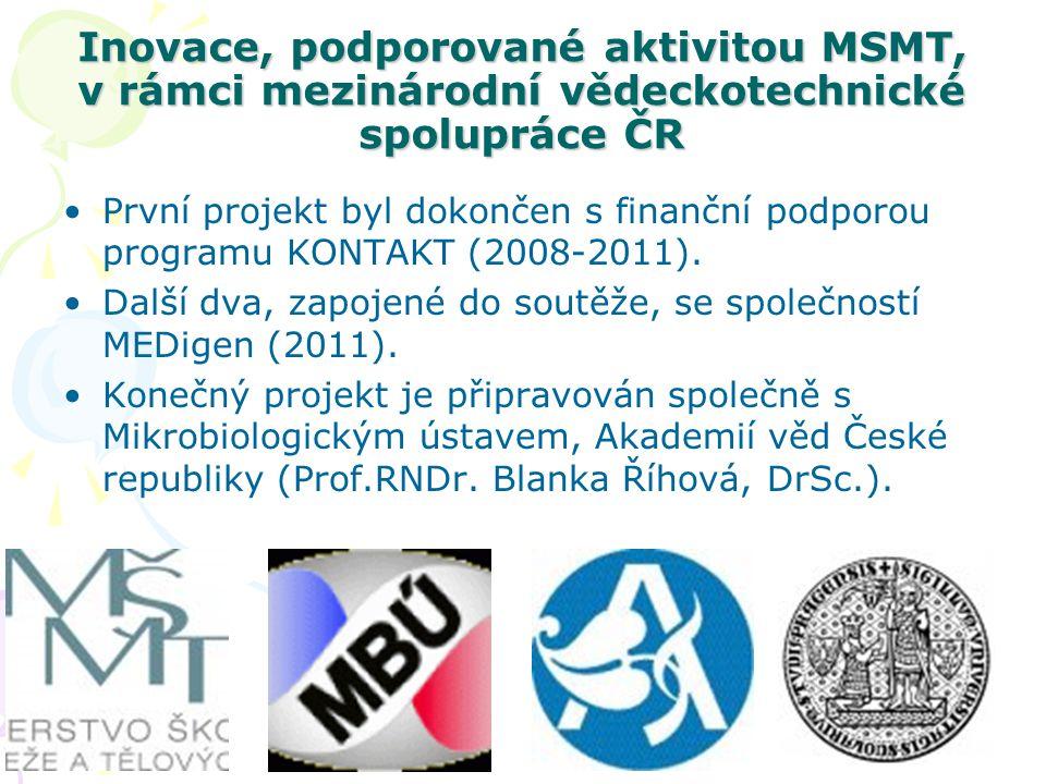 Inovace, podporované aktivitou MSMT, v rámci mezinárodní vědeckotechnické spolupráce ČR •První projekt byl dokončen s finanční podporou programu KONTA