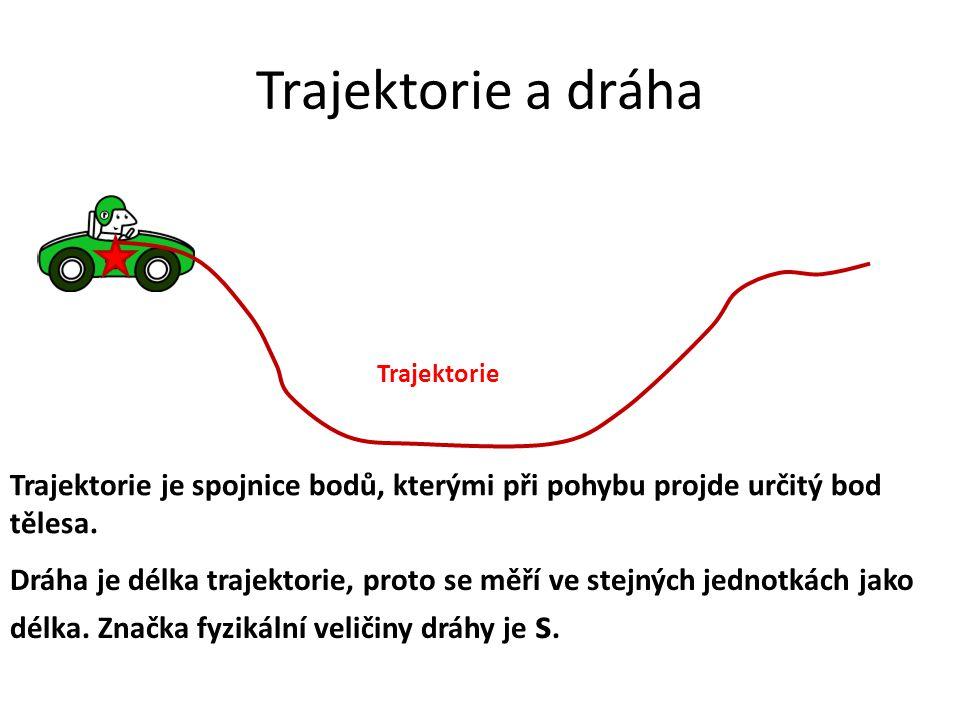 Trajektorie a dráha Trajektorie je spojnice bodů, kterými při pohybu projde určitý bod tělesa. Dráha je délka trajektorie, proto se měří ve stejných j