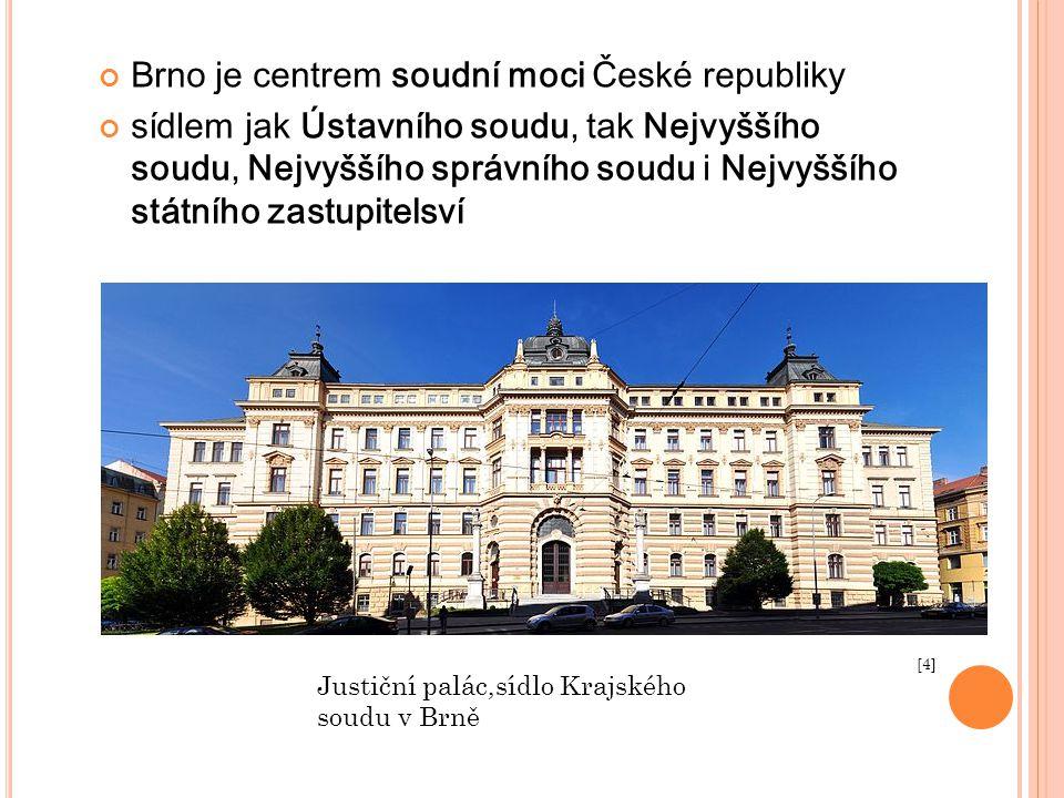 Brno je centrem soudní moci České republiky sídlem jak Ústavního soudu, tak Nejvyššího soudu, Nejvyššího správního soudu i Nejvyššího státního zastupi