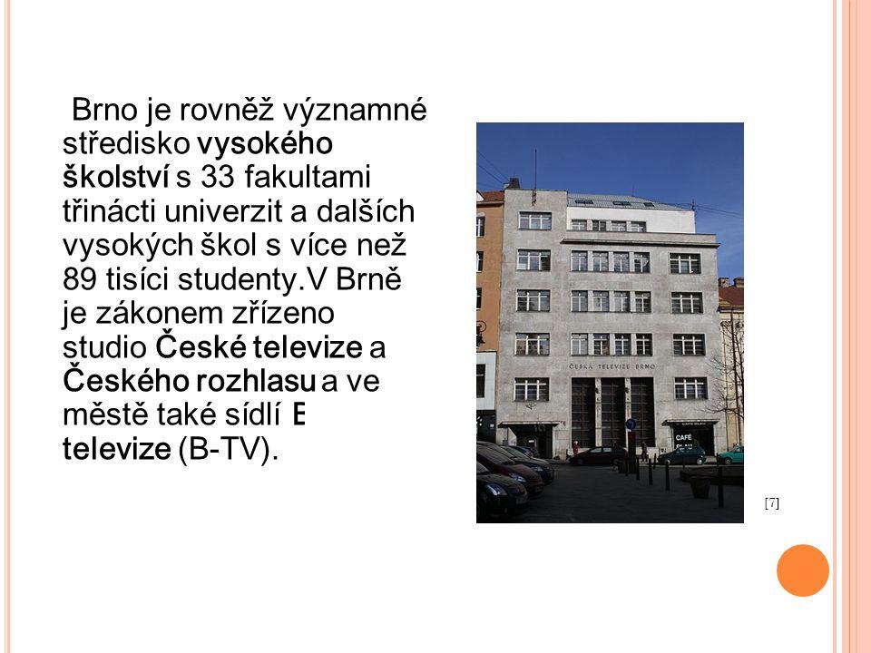 Brno je rovněž významné středisko vysokého školství s 33 fakultami třinácti univerzit a dalších vysokých škol s více než 89 tisíci studenty.V Brně je