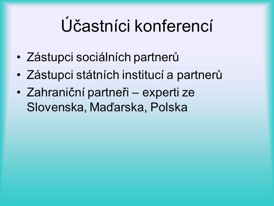Účastníci konferencí •Zástupci sociálních partnerů •Zástupci státních institucí a partnerů •Zahraniční partneři – experti ze Slovenska, Maďarska, Polska