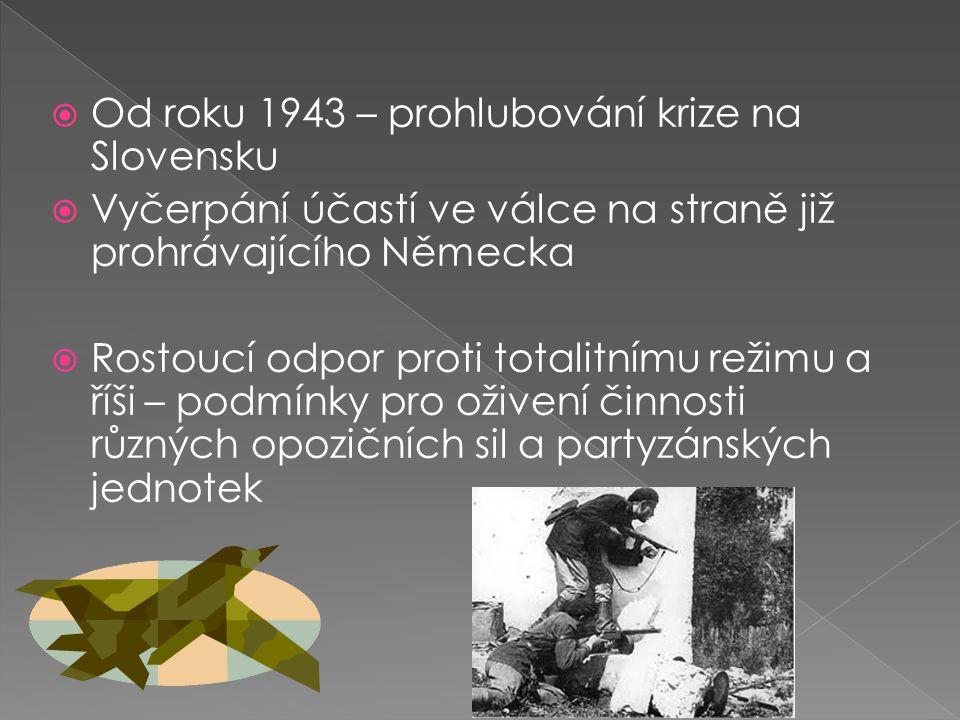  Od roku 1943 – prohlubování krize na Slovensku  Vyčerpání účastí ve válce na straně již prohrávajícího Německa  Rostoucí odpor proti totalitnímu režimu a říši – podmínky pro oživení činnosti různých opozičních sil a partyzánských jednotek