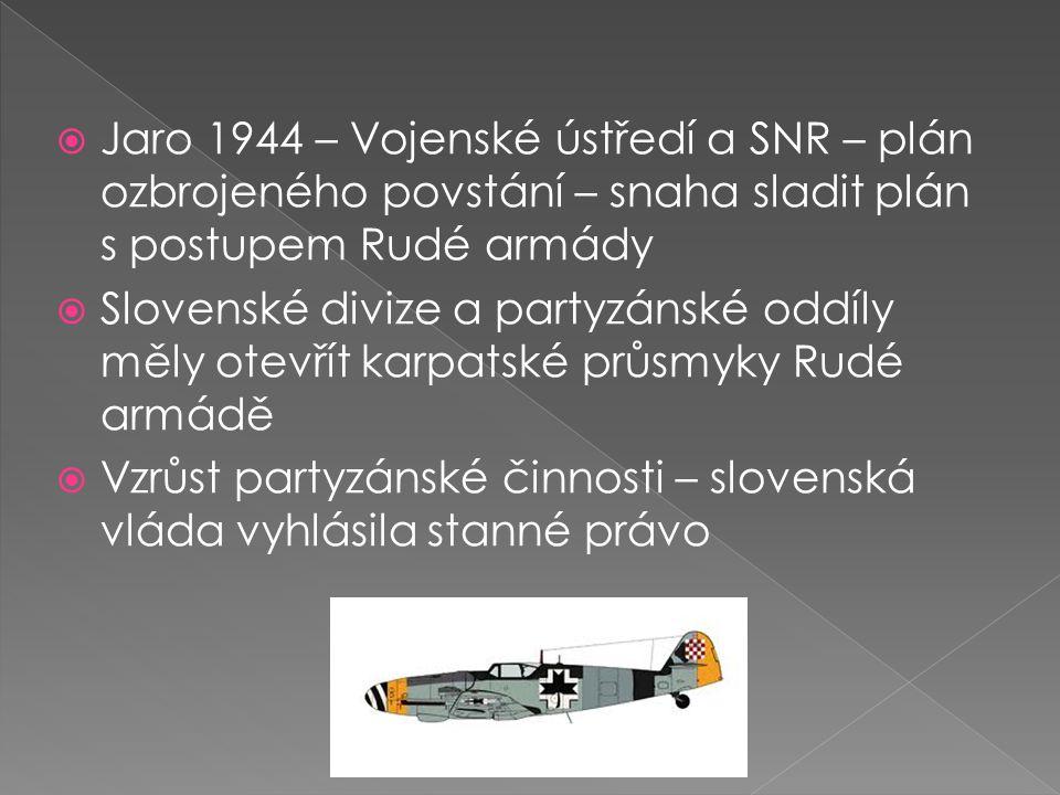 Jaro 1944 – Vojenské ústředí a SNR – plán ozbrojeného povstání – snaha sladit plán s postupem Rudé armády  Slovenské divize a partyzánské oddíly měly otevřít karpatské průsmyky Rudé armádě  Vzrůst partyzánské činnosti – slovenská vláda vyhlásila stanné právo