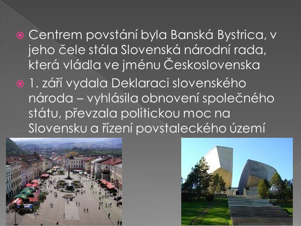  Centrem povstání byla Banská Bystrica, v jeho čele stála Slovenská národní rada, která vládla ve jménu Československa  1.