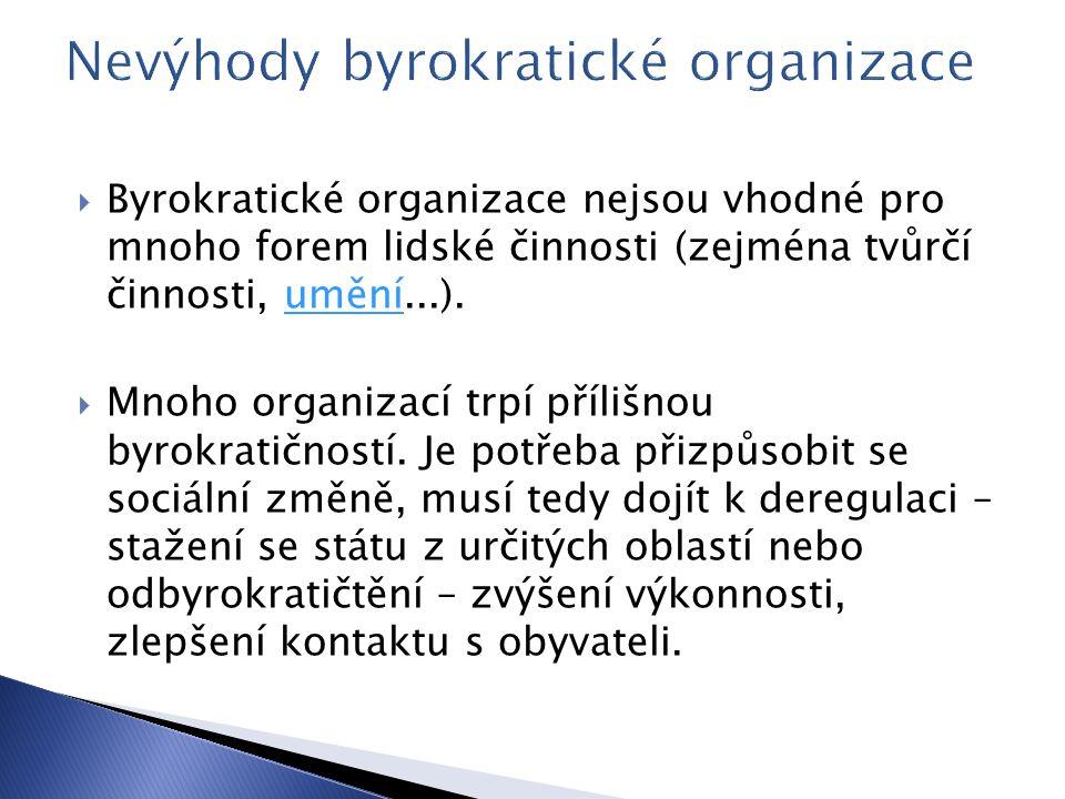  Byrokratické organizace nejsou vhodné pro mnoho forem lidské činnosti (zejména tvůrčí činnosti, umění...).umění  Mnoho organizací trpí přílišnou byrokratičností.