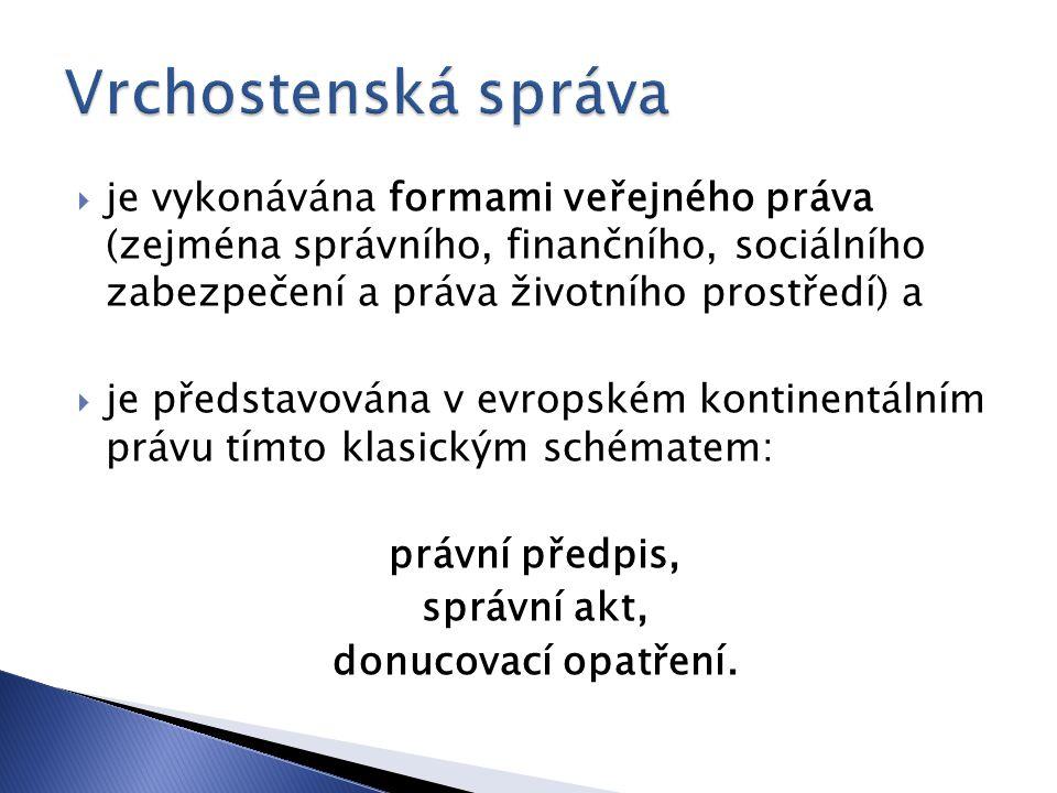  je vykonávána formami veřejného práva (zejména správního, finančního, sociálního zabezpečení a práva životního prostředí) a  je představována v evr