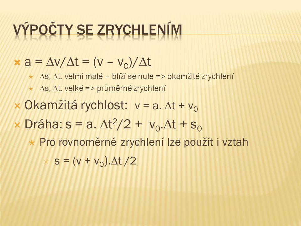  a =  v/  t = (v – v 0 )/  t   s,  t: velmi malé – blíží se nule => okamžité zrychlení   s,  t: velké => průměrné zrychlení  Okamžitá rychl