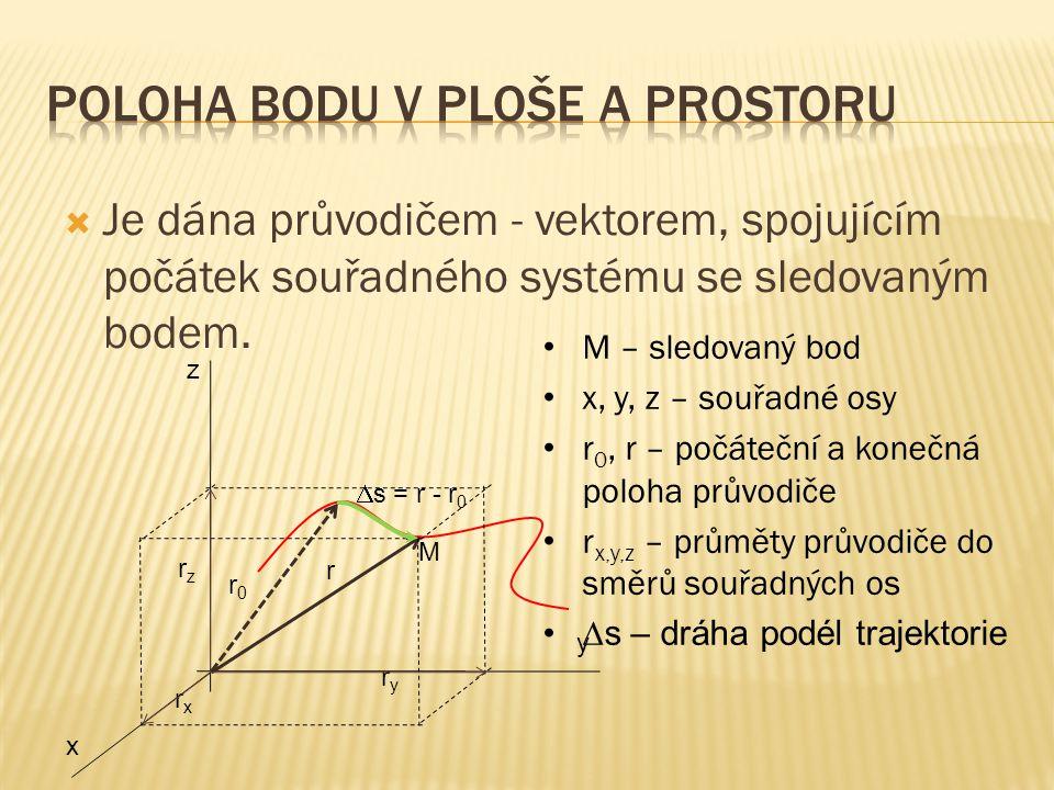  Je dána průvodičem - vektorem, spojujícím počátek souřadného systému se sledovaným bodem. z y x M r rxrx ryry rzrz r0r0  s = r - r 0 • M – sledovan