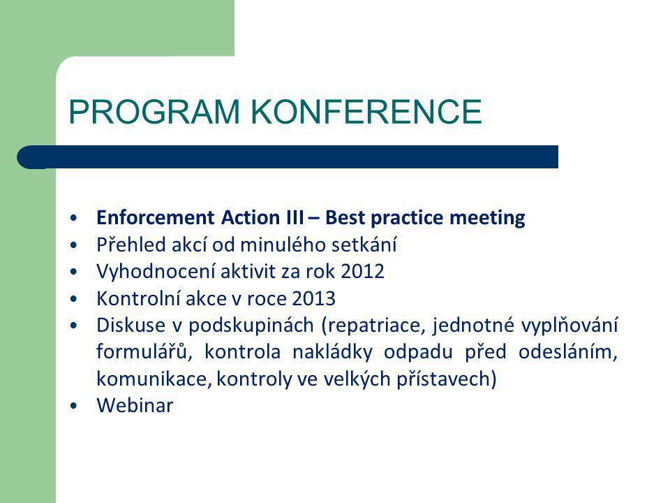 PROGRAM KONFERENCE • Enforcement Action III – Best practice meeting • Přehled akcí od minulého setkání • Vyhodnocení aktivit za rok 2012 • Kontrolní a