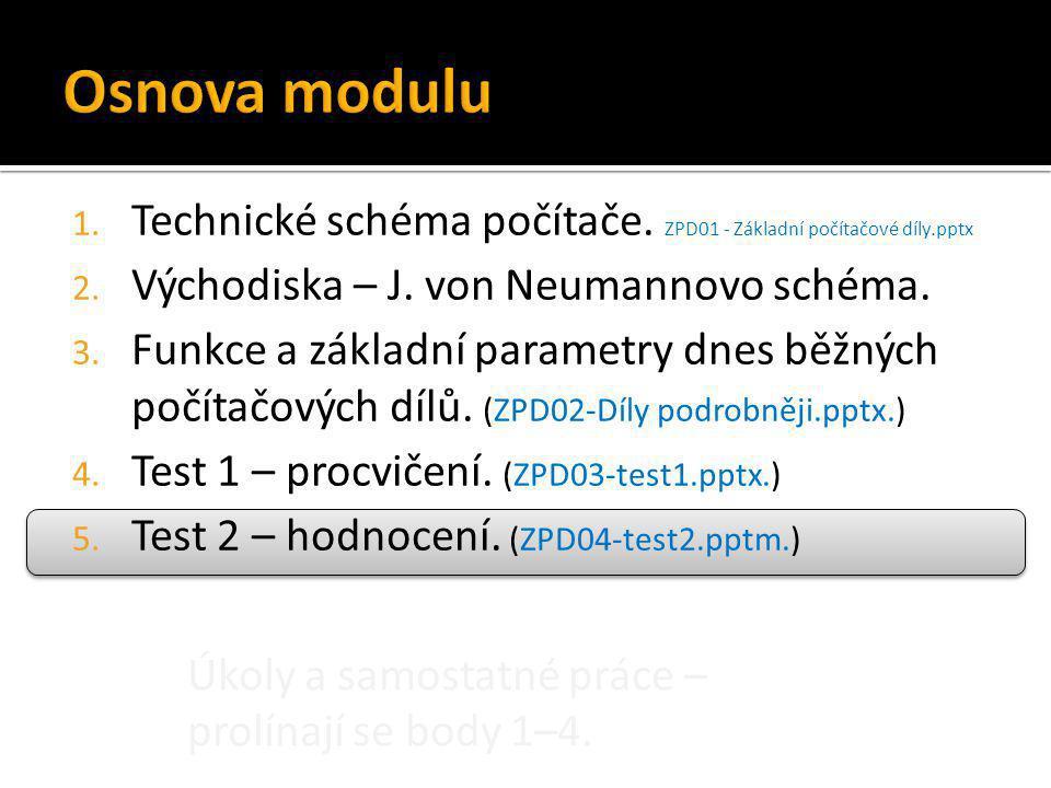 Úkoly a samostatné práce – prolínají se body 1–4. 1. Technické schéma počítače. ZPD01 - Základní počítačové díly.pptx 2. Východiska – J. von Neumannov