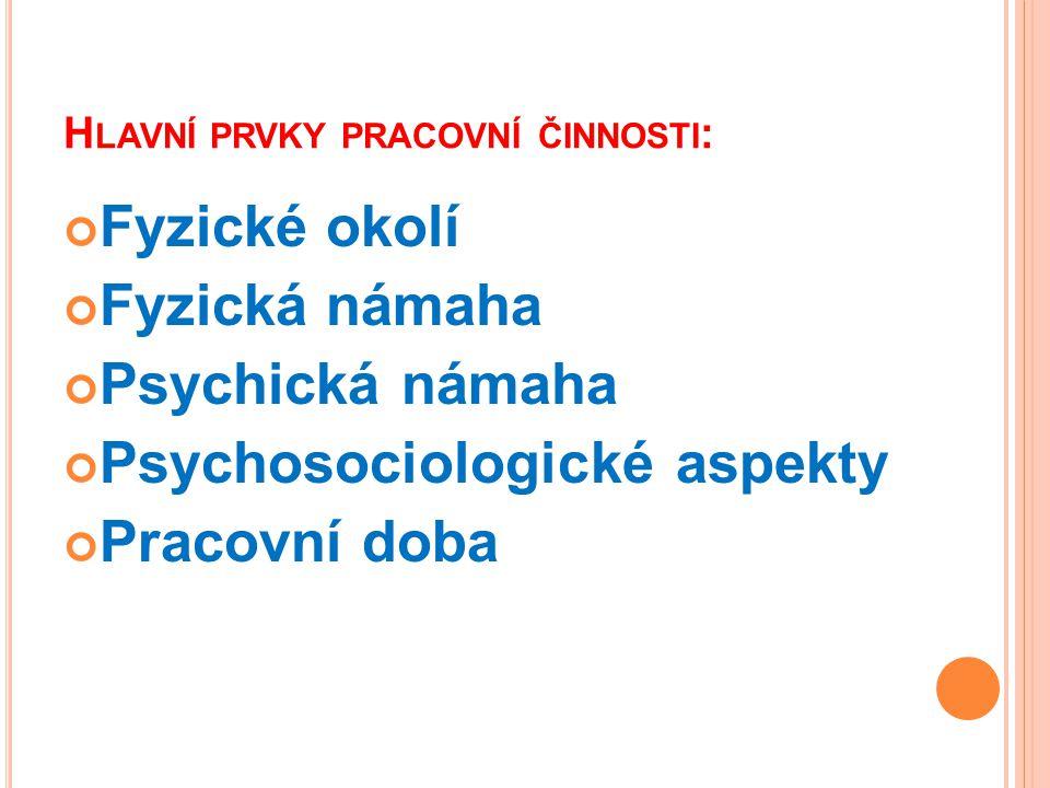 H LAVNÍ PRVKY PRACOVNÍ ČINNOSTI : Fyzické okolí Fyzická námaha Psychická námaha Psychosociologické aspekty Pracovní doba