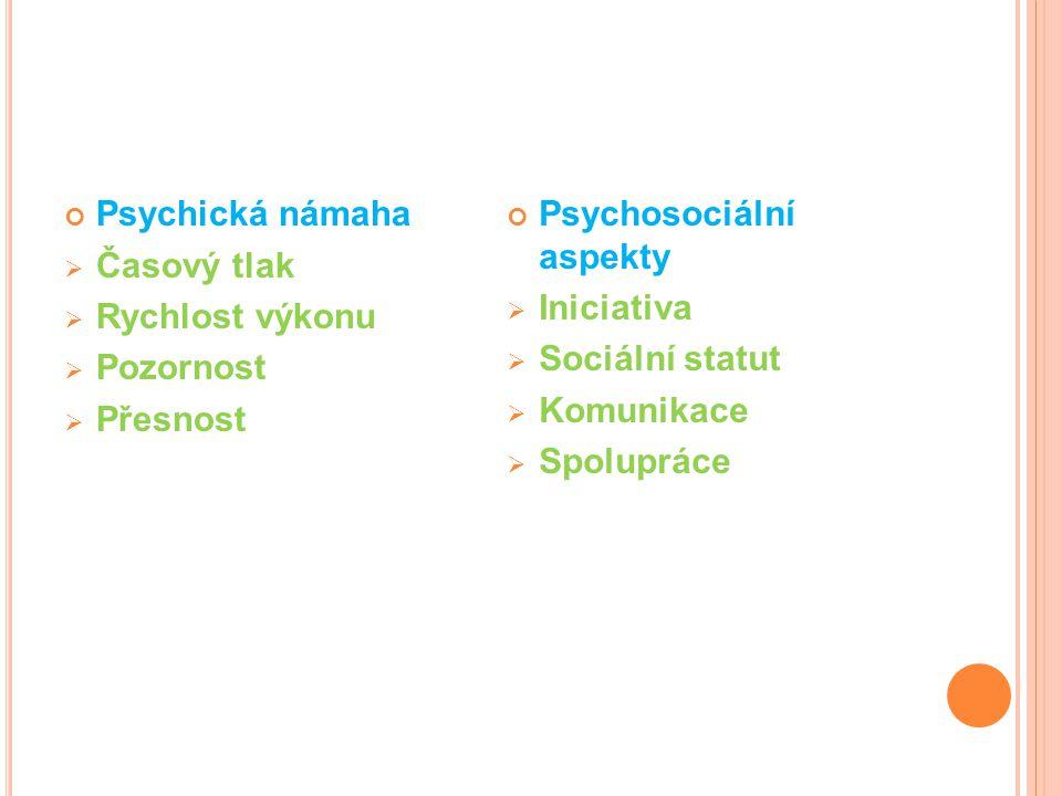 Psychická námaha  Časový tlak  Rychlost výkonu  Pozornost  Přesnost Psychosociální aspekty  Iniciativa  Sociální statut  Komunikace  Spolupráce