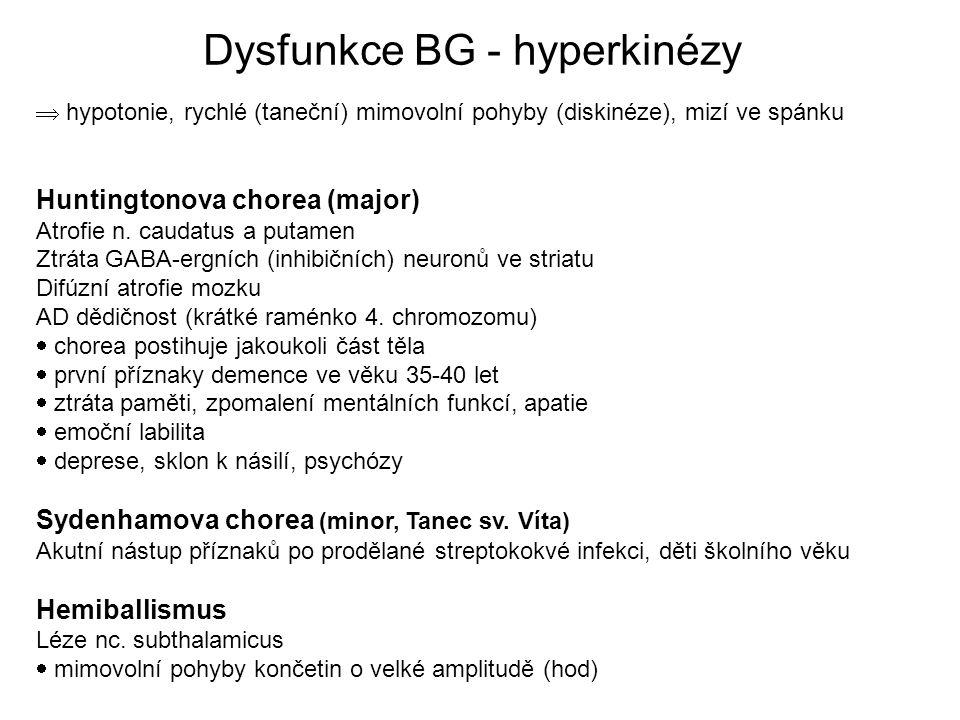  hypotonie, rychlé (taneční) mimovolní pohyby (diskinéze), mizí ve spánku Huntingtonova chorea (major) Atrofie n.