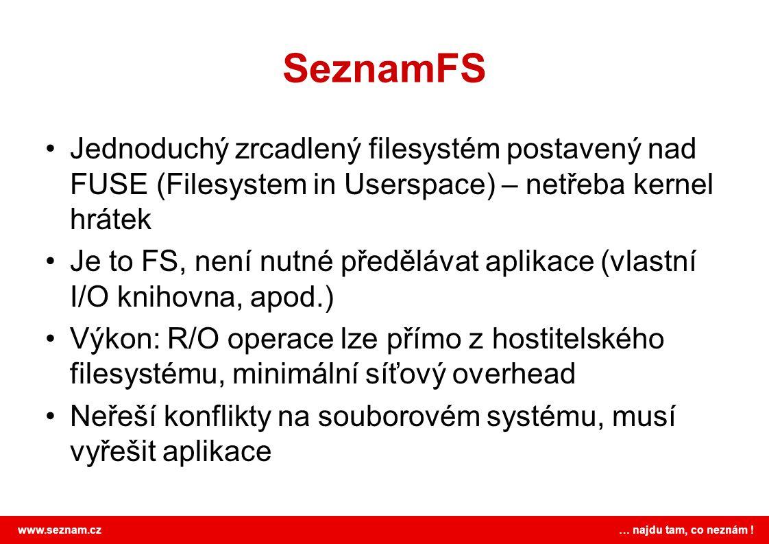 www.seznam.cz … najdu tam, co neznám ! SeznamFS •Jednoduchý zrcadlený filesystém postavený nad FUSE (Filesystem in Userspace) – netřeba kernel hrátek