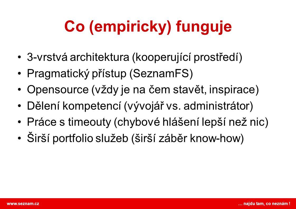 www.seznam.cz … najdu tam, co neznám ! Co (empiricky) funguje •3-vrstvá architektura (kooperující prostředí) •Pragmatický přístup (SeznamFS) •Opensour