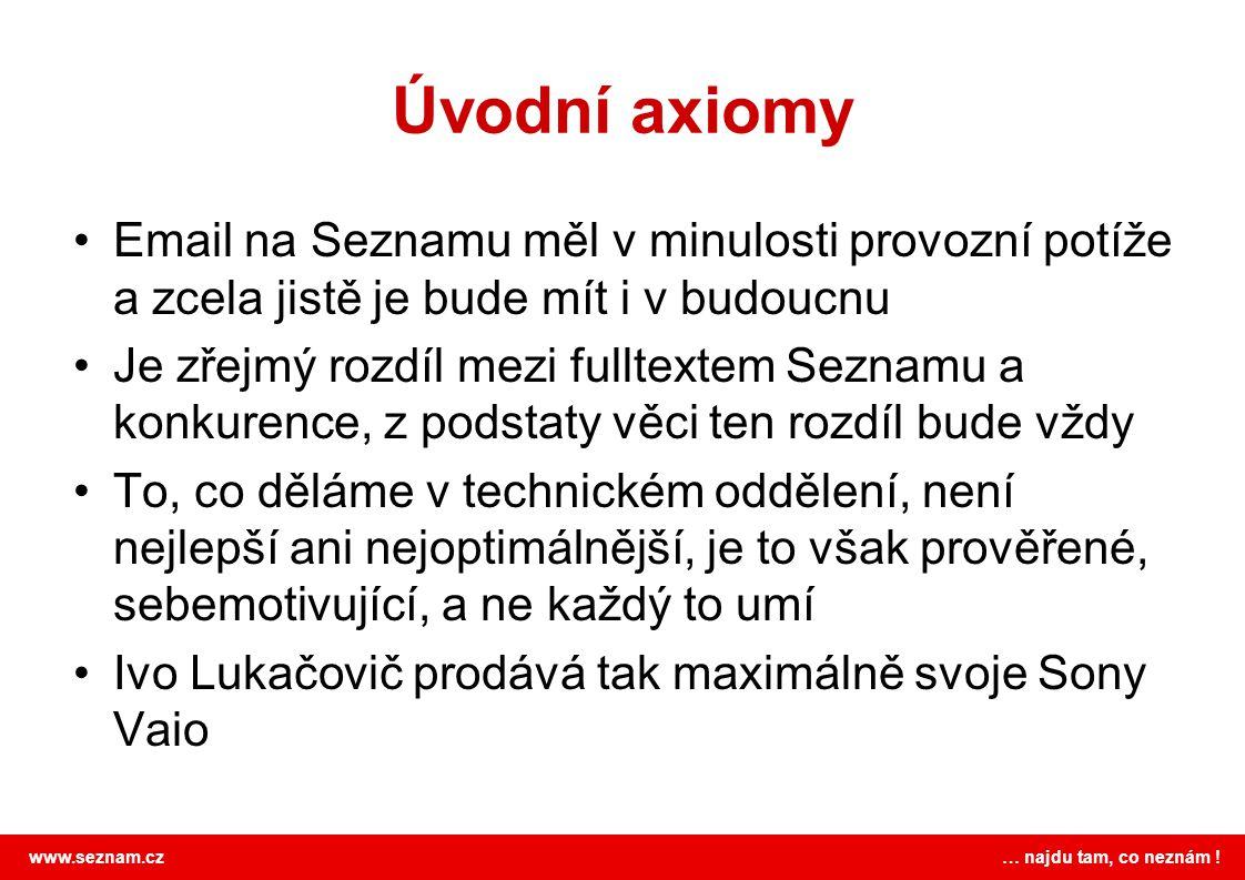 www.seznam.cz … najdu tam, co neznám ! Úvodní axiomy •Email na Seznamu měl v minulosti provozní potíže a zcela jistě je bude mít i v budoucnu •Je zřej