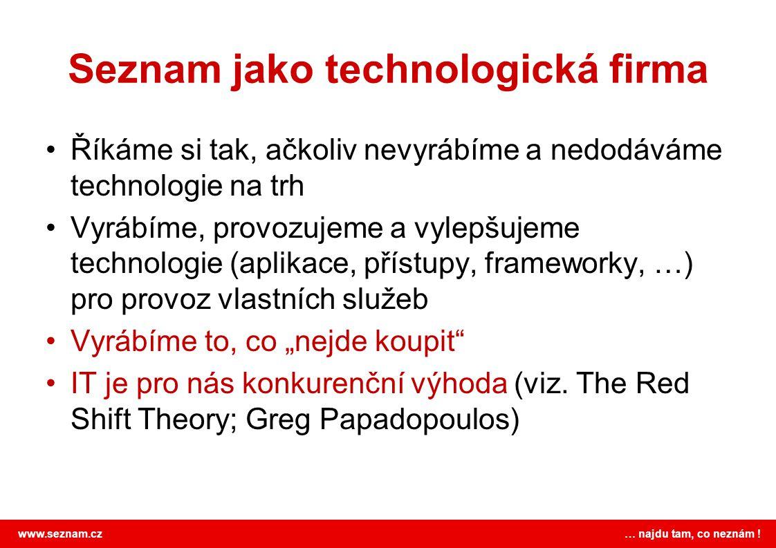 www.seznam.cz … najdu tam, co neznám ! Seznam jako technologická firma •Říkáme si tak, ačkoliv nevyrábíme a nedodáváme technologie na trh •Vyrábíme, p