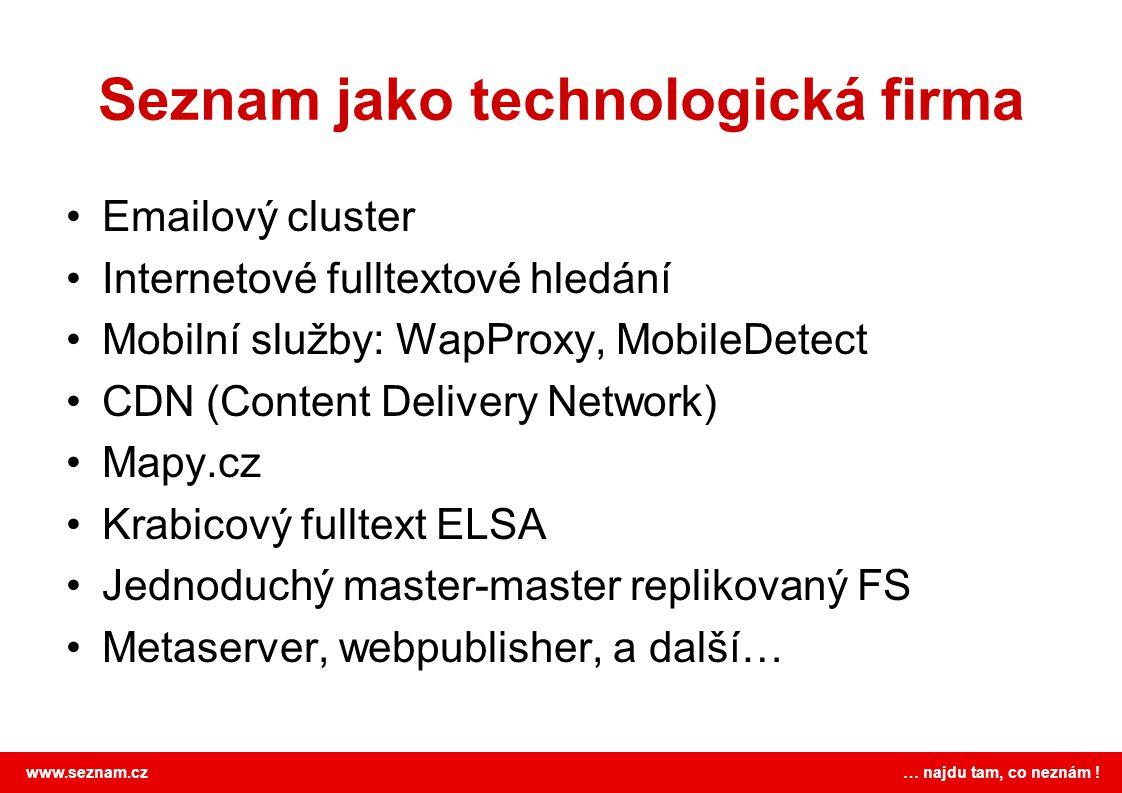 www.seznam.cz … najdu tam, co neznám ! Seznam jako technologická firma •Emailový cluster •Internetové fulltextové hledání •Mobilní služby: WapProxy, M