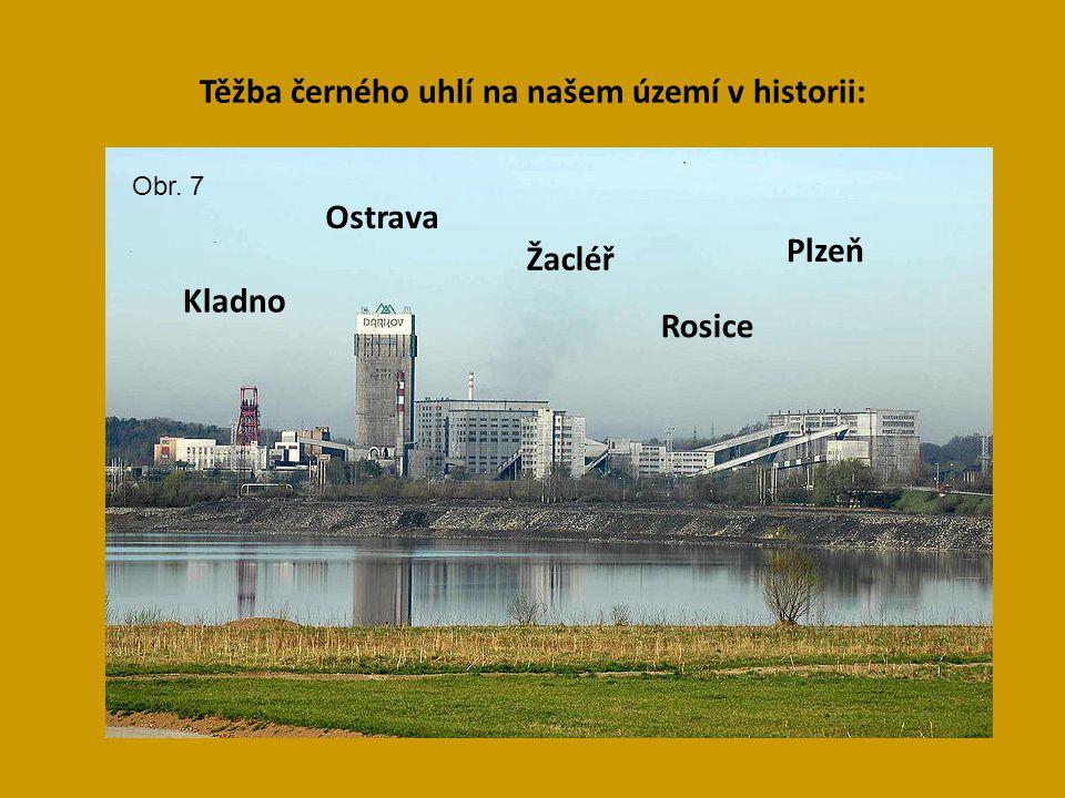 Těžba černého uhlí na našem území v historii: Kladno Plzeň Žacléř Rosice Ostrava Obr. 7