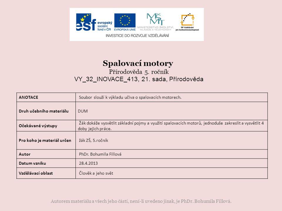 Autorem materiálu a všech jeho částí, není-li uvedeno jinak, je PhDr. Bohumila Fillová. ANOTACE Soubor slouží k výkladu učiva o spalovacích motorech.