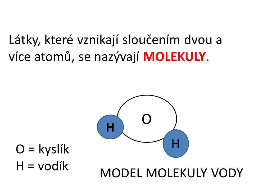 Látky, které vznikají sloučením dvou a více atomů, se nazývají MOLEKULY. O H H MODEL MOLEKULY VODY O = kyslík H = vodík