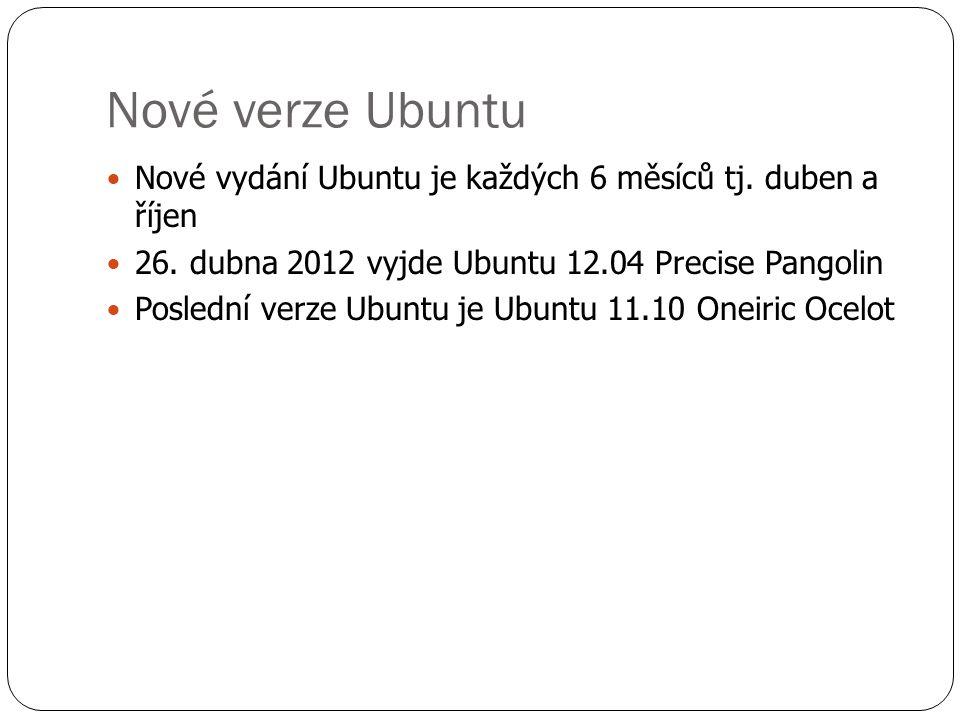 Odnoše Ubuntu  Edubuntu – je určeno pro použití ve výuce a vzdělání  Xubuntu – používá grafické rozhrani Xfce, díky tomu má nižší HW požadavky a je vhodný pro starší počítače  Lubuntu - používá grafické rozhrani LXDE, díky tomu má nižší HW požadavky a je vhodný pro starší počítače  Ubuntu studio – je určeno pro multimediální tvorbu  Mythubtu – je určeno pro snadné vytvoření domácího multimediálního centra