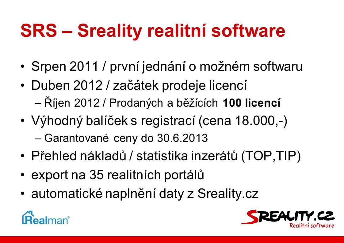SRS – Sreality realitní software •Srpen 2011 / první jednání o možném softwaru •Duben 2012 / začátek prodeje licencí –Říjen 2012 / Prodaných a běžícíc