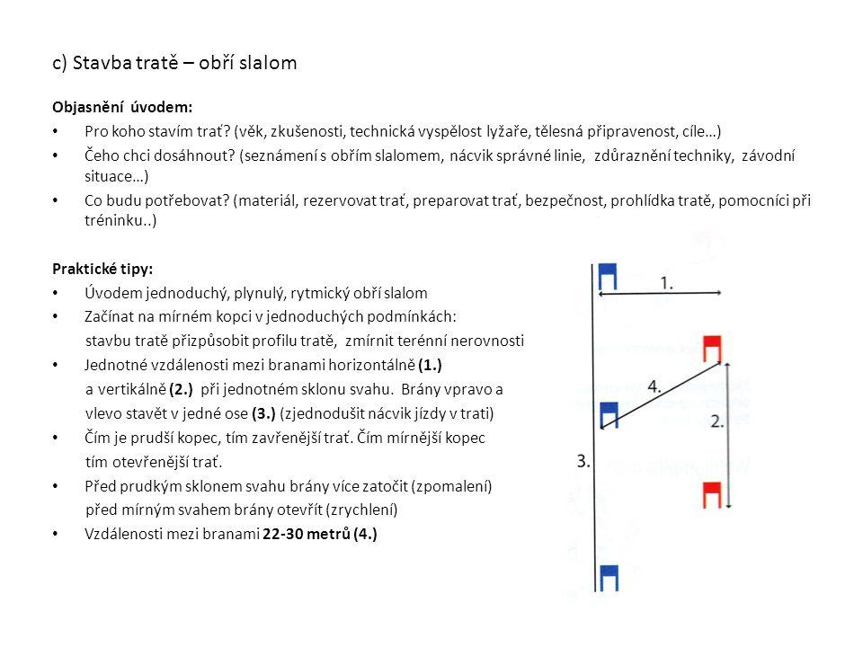 d) Volba linie při jízdě v obřím slalomu Ideální linie Ideální linie je ta, které v dané trati nejrychlejší Nejkratší linie V zásadě ztrácí závodník nejméně času, pokud jede co nejblíže linii, která spojuje dvě brány.